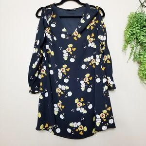 Zara Black Cold Shoulder Sleeve Floral Mini Dress
